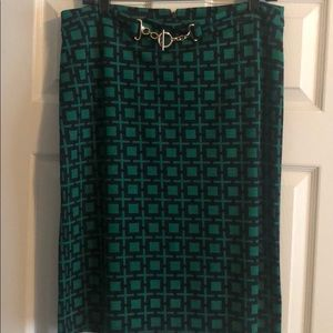 green and navy blue geometric shapes pencil skirt